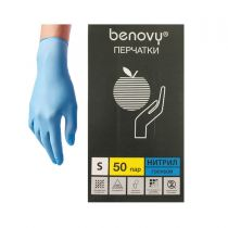 """Перчатки нитриловые голубые """"BENOVY"""""""