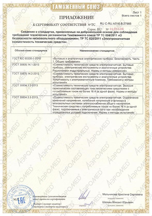 Галогенератор «ГалоВита» сертификат соответствия