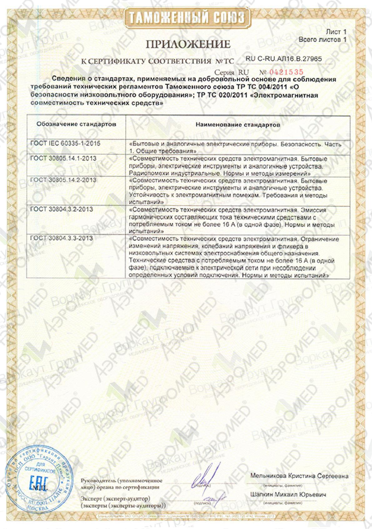 """EAC сертификат для Галогенератора """"СолаВита"""" (приложение 2)"""