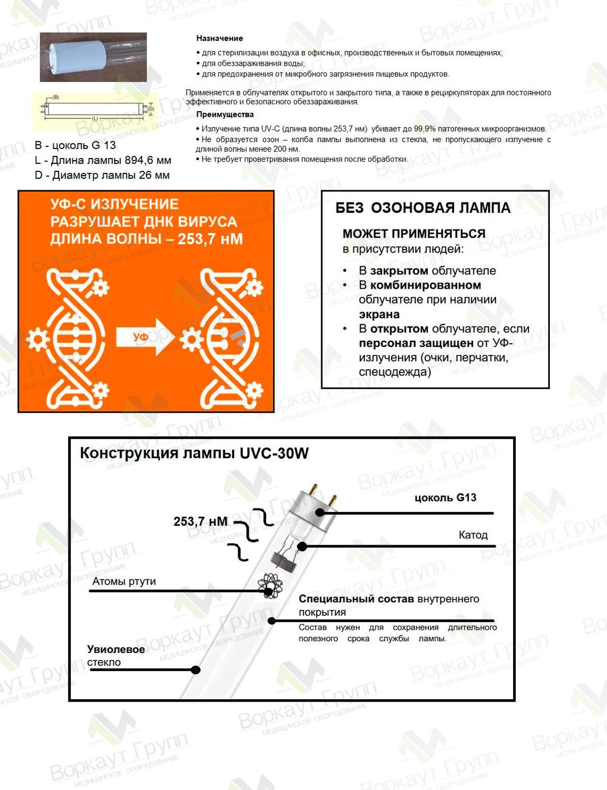 Паспорт для бактерицидной лампы UVC-30W-G13