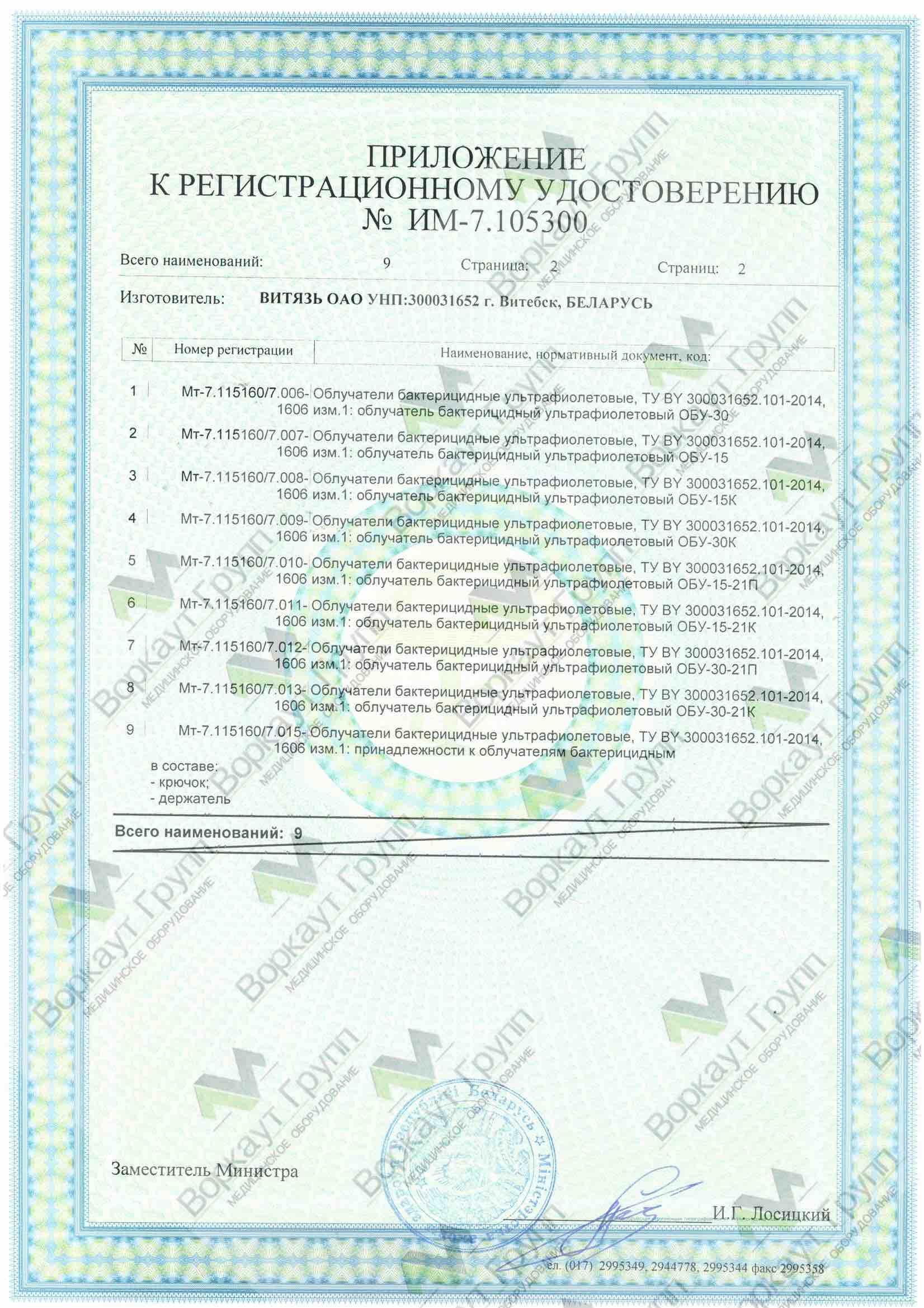 Облучатель ультрафиолетовый ОБУ-15-21-П с проводом