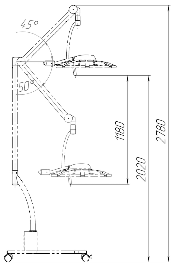 Светильник передвижной бестеневой 500P