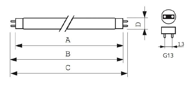 Размеры бактерицидной лампы