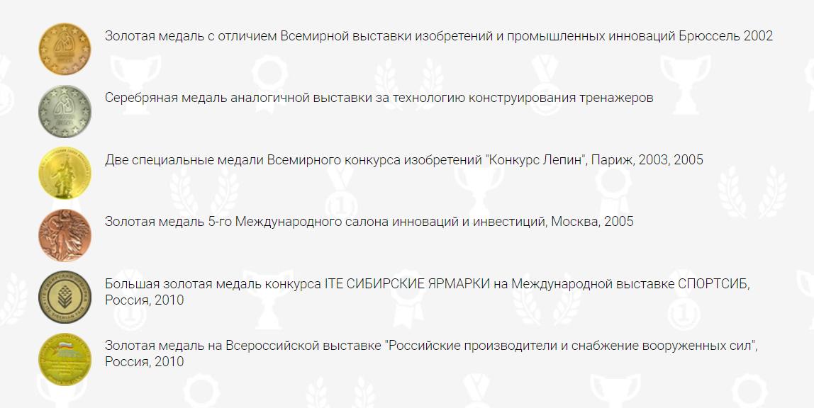 Награды Тренажеры Сотского Бизон
